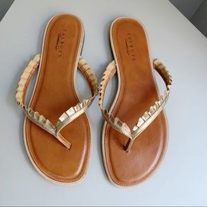 Talbots Ruffle Detail Leather Thong Sandals